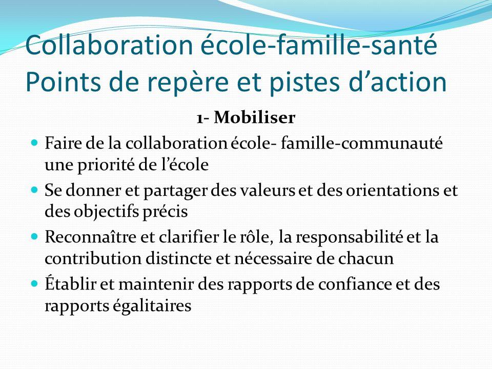 Collaboration école-famille-santé Points de repère et pistes daction 1- Mobiliser Faire de la collaboration école- famille-communauté une priorité de