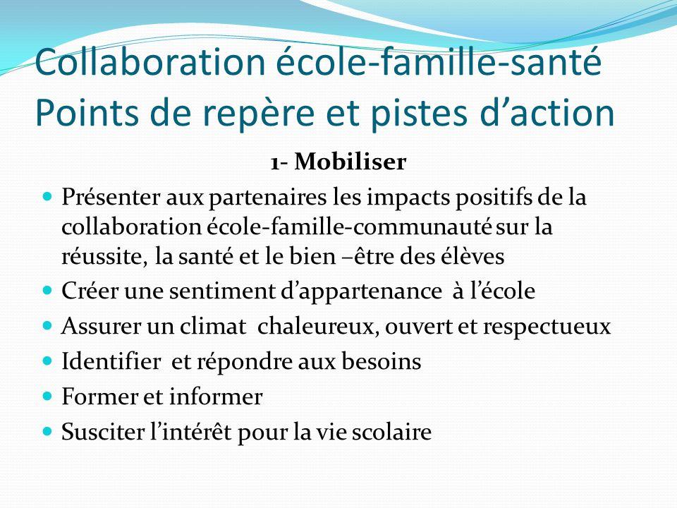Collaboration école-famille-santé Points de repère et pistes daction 1- Mobiliser Présenter aux partenaires les impacts positifs de la collaboration é
