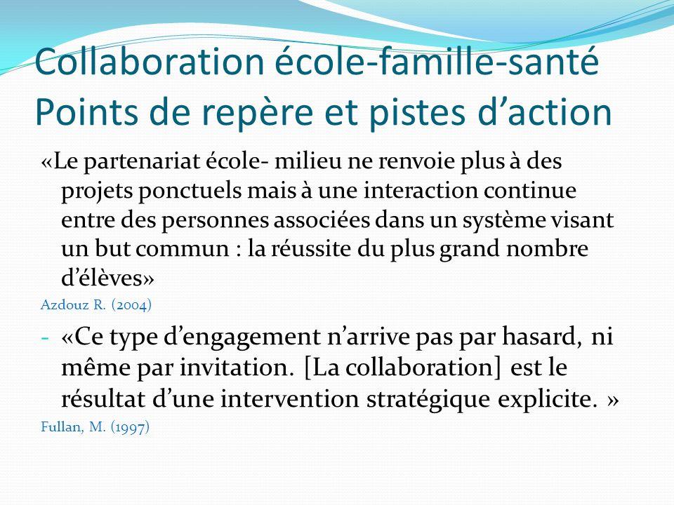 Collaboration école-famille-santé Points de repère et pistes daction «Le partenariat école- milieu ne renvoie plus à des projets ponctuels mais à une