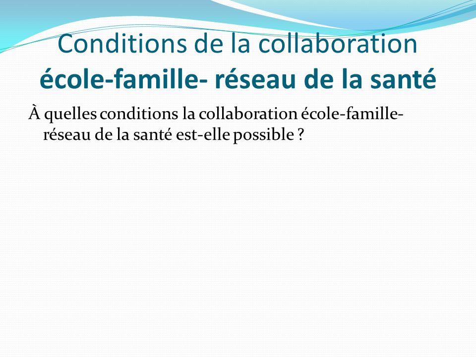 Conditions de la collaboration école-famille- réseau de la santé À quelles conditions la collaboration école-famille- réseau de la santé est-elle poss