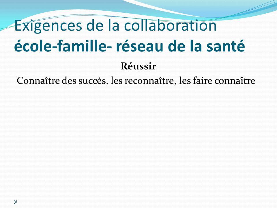 Exigences de la collaboration école-famille- réseau de la santé 31 Réussir Connaître des succès, les reconnaître, les faire connaître