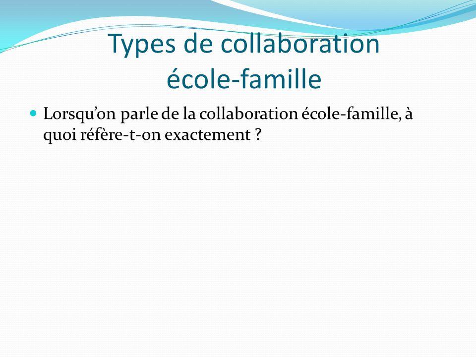 Types de collaboration école-famille Lorsquon parle de la collaboration école-famille, à quoi réfère-t-on exactement ?