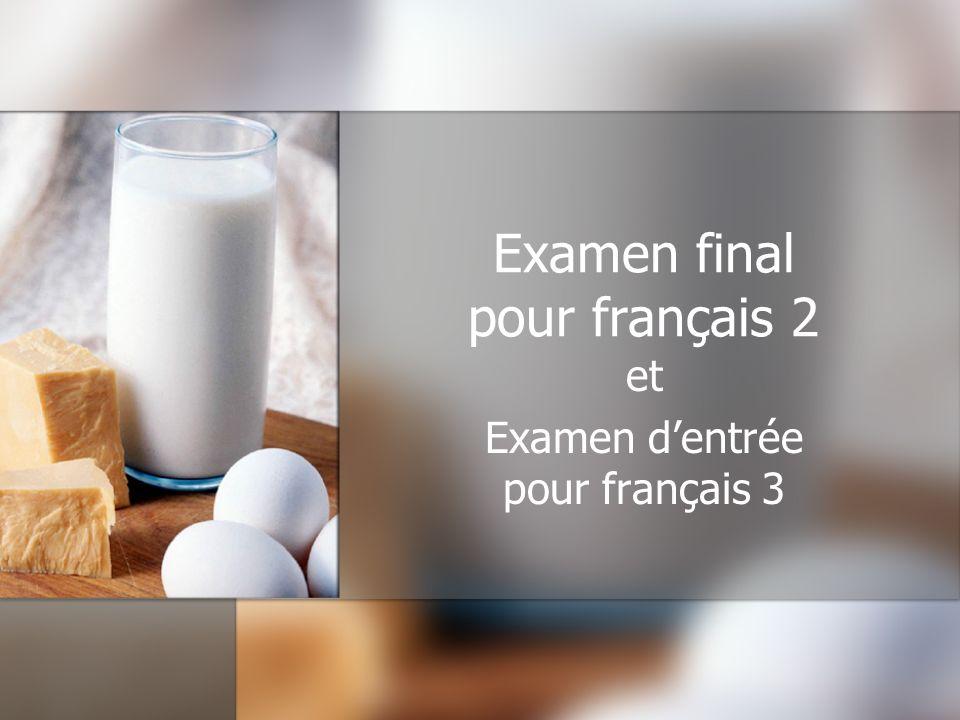 Examen final pour français 2 et Examen dentrée pour français 3