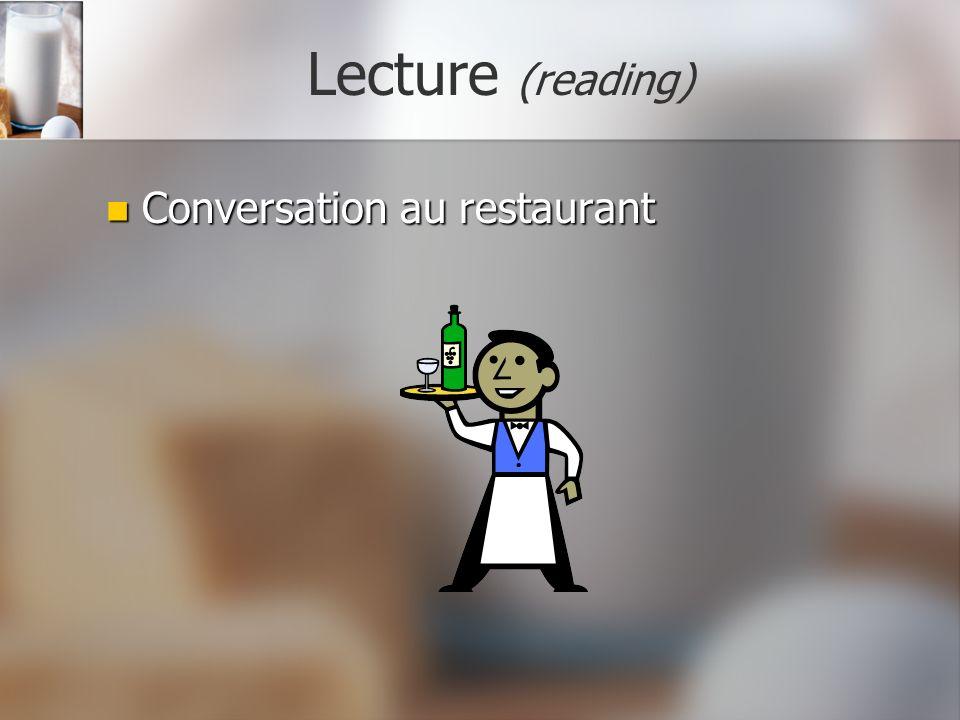 Lecture (reading) Conversation au restaurant Conversation au restaurant