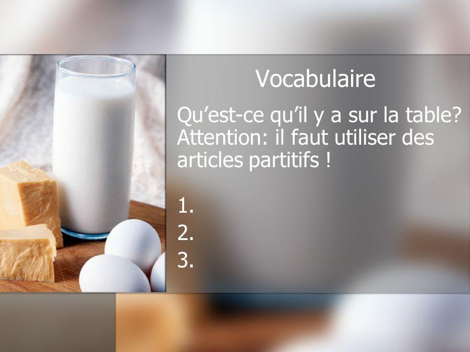 Vocabulaire Quest-ce quil y a sur la table.Attention: il faut utiliser des articles partitifs .