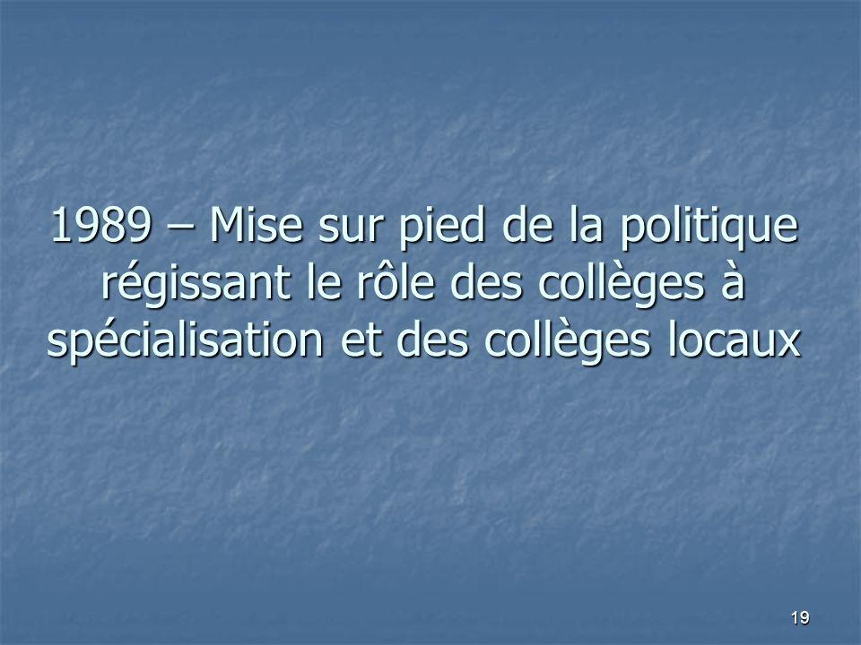 19 1989 – Mise sur pied de la politique régissant le rôle des collèges à spécialisation et des collèges locaux