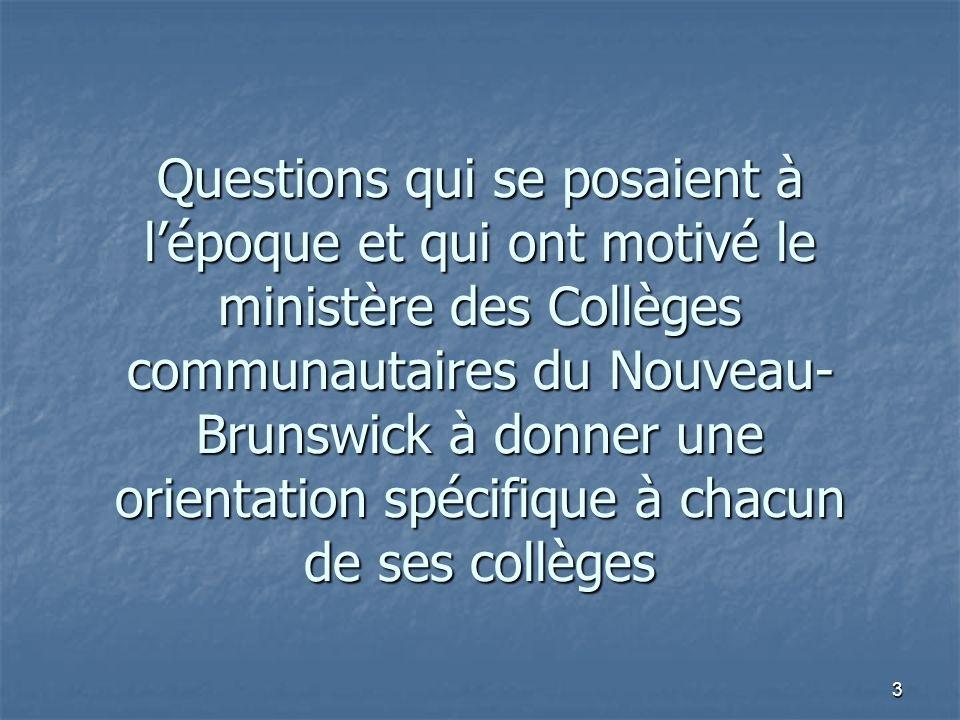 3 Questions qui se posaient à lépoque et qui ont motivé le ministère des Collèges communautaires du Nouveau- Brunswick à donner une orientation spécifique à chacun de ses collèges
