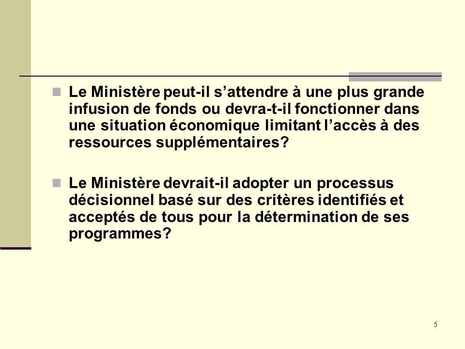 5 Le Ministère peut-il sattendre à une plus grande infusion de fonds ou devra-t-il fonctionner dans une situation économique limitant laccès à des ressources supplémentaires.
