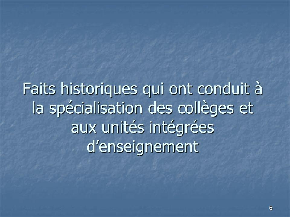 6 Faits historiques qui ont conduit à la spécialisation des collèges et aux unités intégrées denseignement