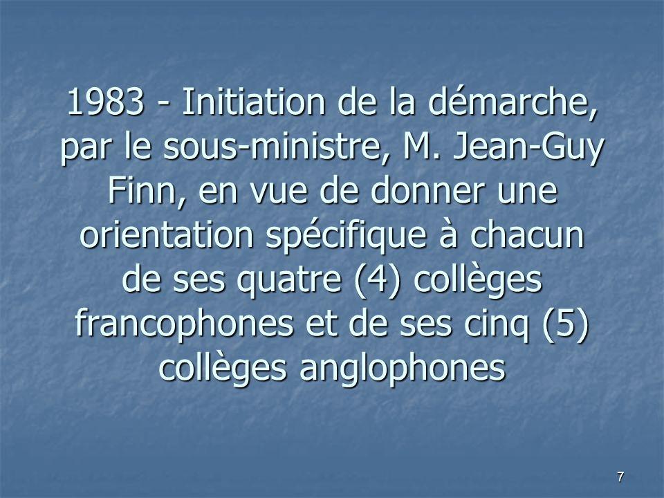 7 1983 - Initiation de la démarche, par le sous-ministre, M.
