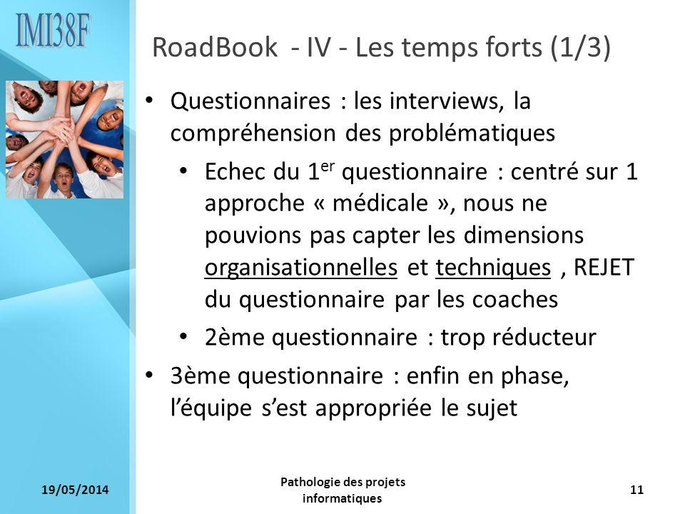 19/05/2014 Pathologie des projets informatiques 11 RoadBook - IV - Les temps forts (1/3) Questionnaires : les interviews, la compréhension des problém