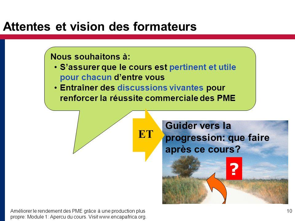 Améliorer le rendement des PME grâce à une production plus propre: Module 1: Apercu du cours. Visit www.encapafrica.org. 10 Attentes et vision des for