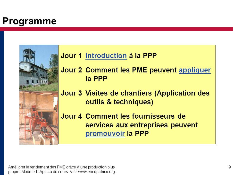 Améliorer le rendement des PME grâce à une production plus propre: Module 1: Apercu du cours. Visit www.encapafrica.org. 9 Programme Jour 1Introductio