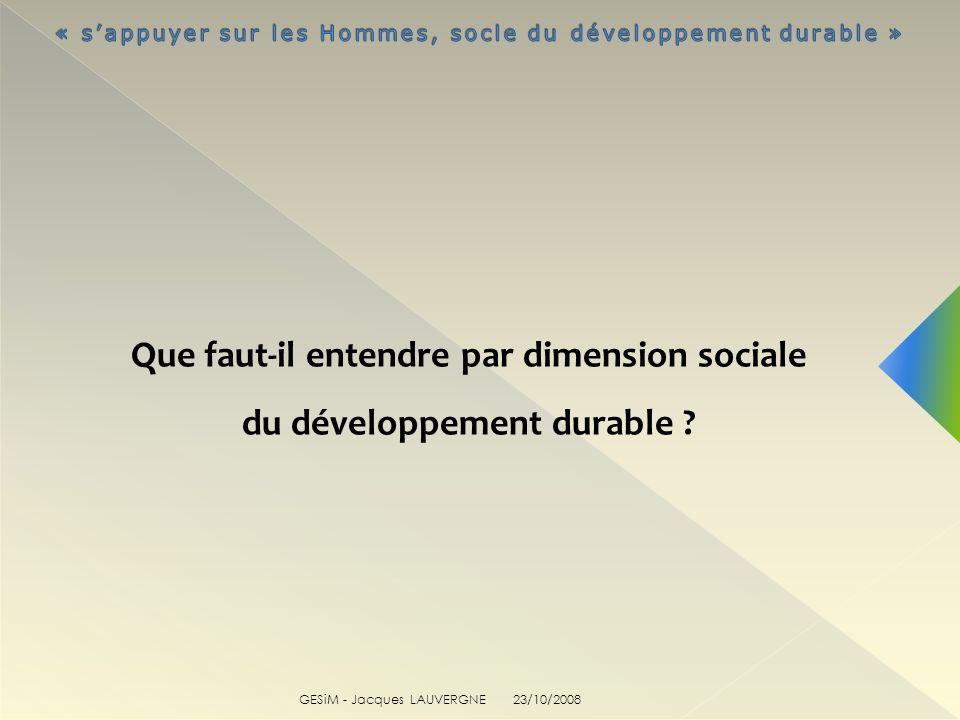 GESiM - Jacques LAUVERGNE 23/10/2008 Que faut-il entendre par dimension sociale du développement durable ?