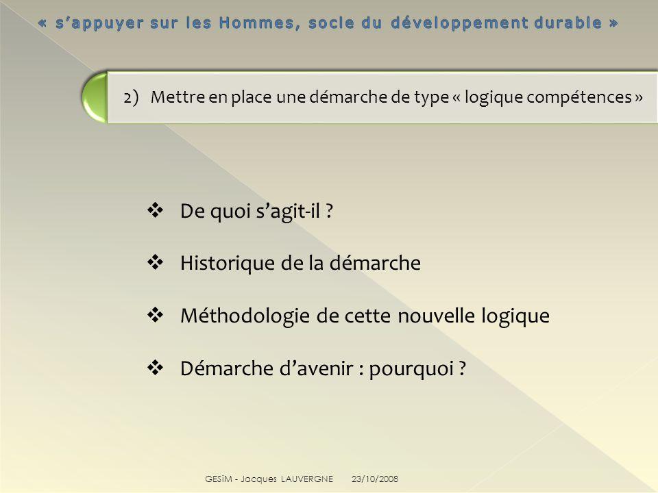 GESiM - Jacques LAUVERGNE De quoi sagit-il ? Historique de la démarche Méthodologie de cette nouvelle logique Démarche davenir : pourquoi ? 2) Mettre