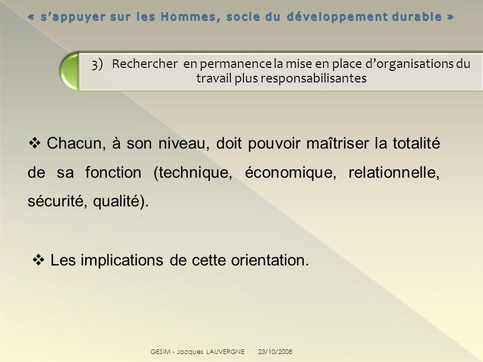 GESiM - Jacques LAUVERGNE Chacun, à son niveau, doit pouvoir maîtriser la totalité de sa fonction (technique, économique, relationnelle, sécurité, qua