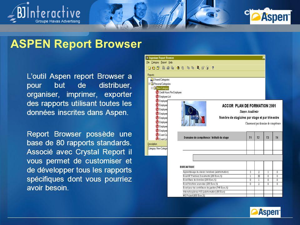 Loutil Aspen report Browser a pour but de distribuer, organiser, imprimer, exporter des rapports utilisant toutes les données inscrites dans Aspen.