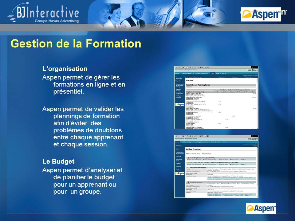 Lorganisation Aspen permet de gérer les formations en ligne et en présentiel.