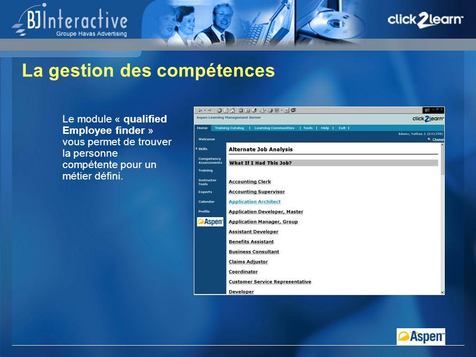La gestion des compétences Le module « qualified Employee finder » vous permet de trouver la personne compétente pour un métier défini.