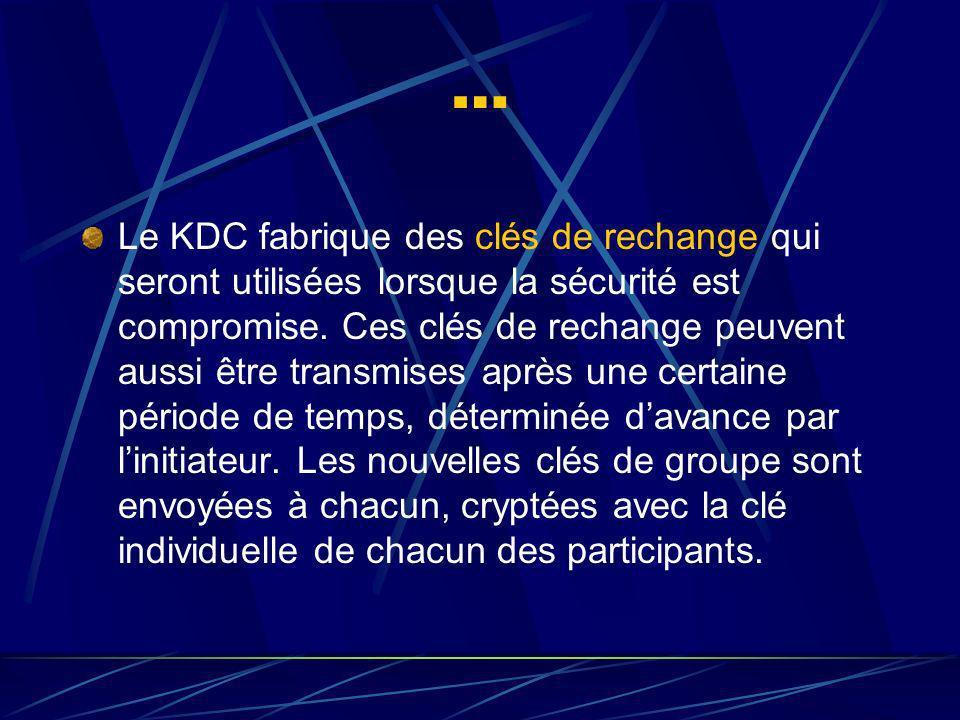 … Le KDC fabrique des clés de rechange qui seront utilisées lorsque la sécurité est compromise.