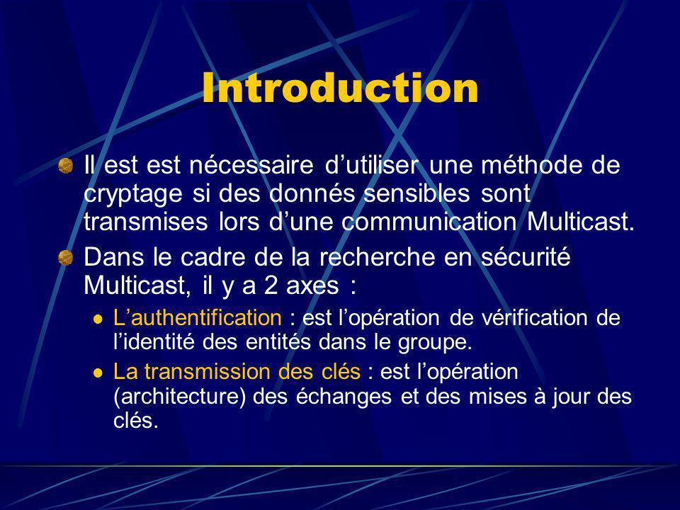 Introduction Il est est nécessaire dutiliser une méthode de cryptage si des donnés sensibles sont transmises lors dune communication Multicast.