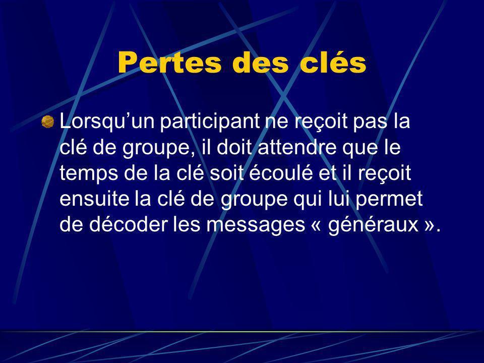 Pertes des clés Lorsquun participant ne reçoit pas la clé de groupe, il doit attendre que le temps de la clé soit écoulé et il reçoit ensuite la clé de groupe qui lui permet de décoder les messages « généraux ».