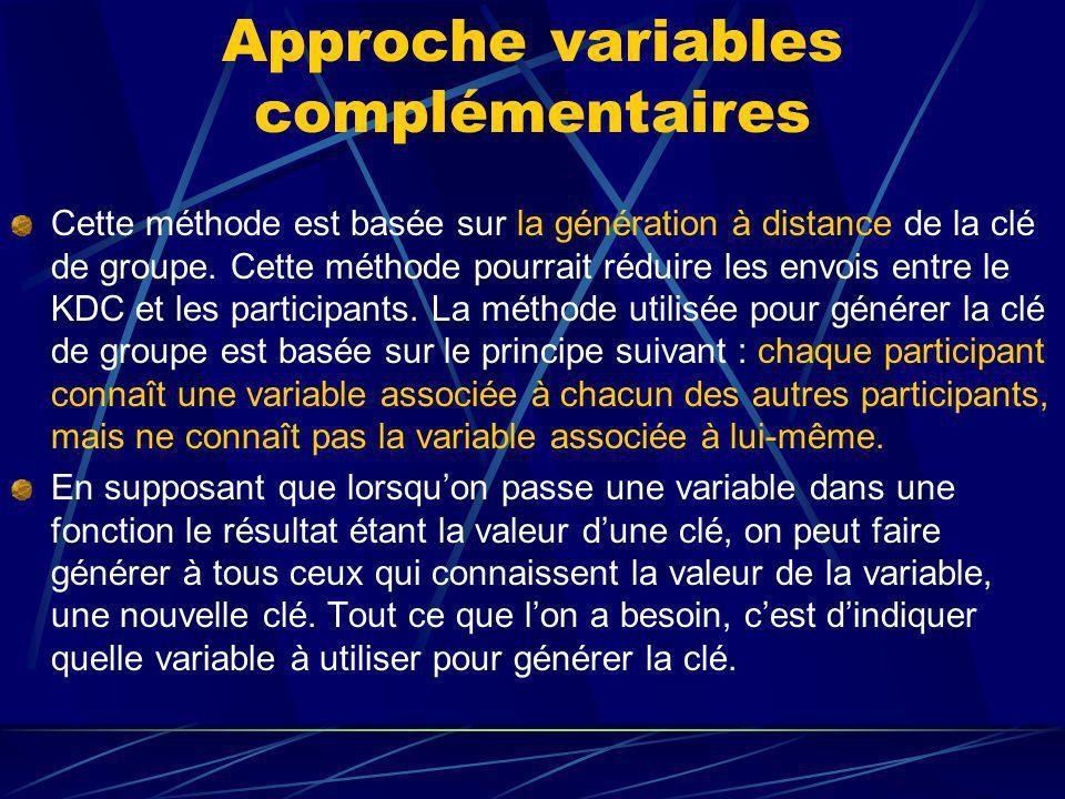 Approche variables complémentaires Cette méthode est basée sur la génération à distance de la clé de groupe.