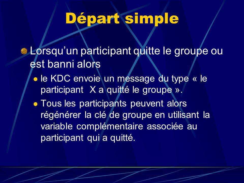 Départ simple Lorsquun participant quitte le groupe ou est banni alors le KDC envoie un message du type « le participant X a quitté le groupe ».
