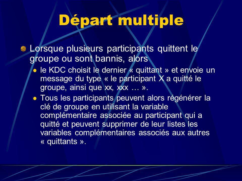 Départ multiple Lorsque plusieurs participants quittent le groupe ou sont bannis, alors le KDC choisit le dernier « quittant » et envoie un message du type « le participant X a quitté le groupe, ainsi que xx, xxx … ».