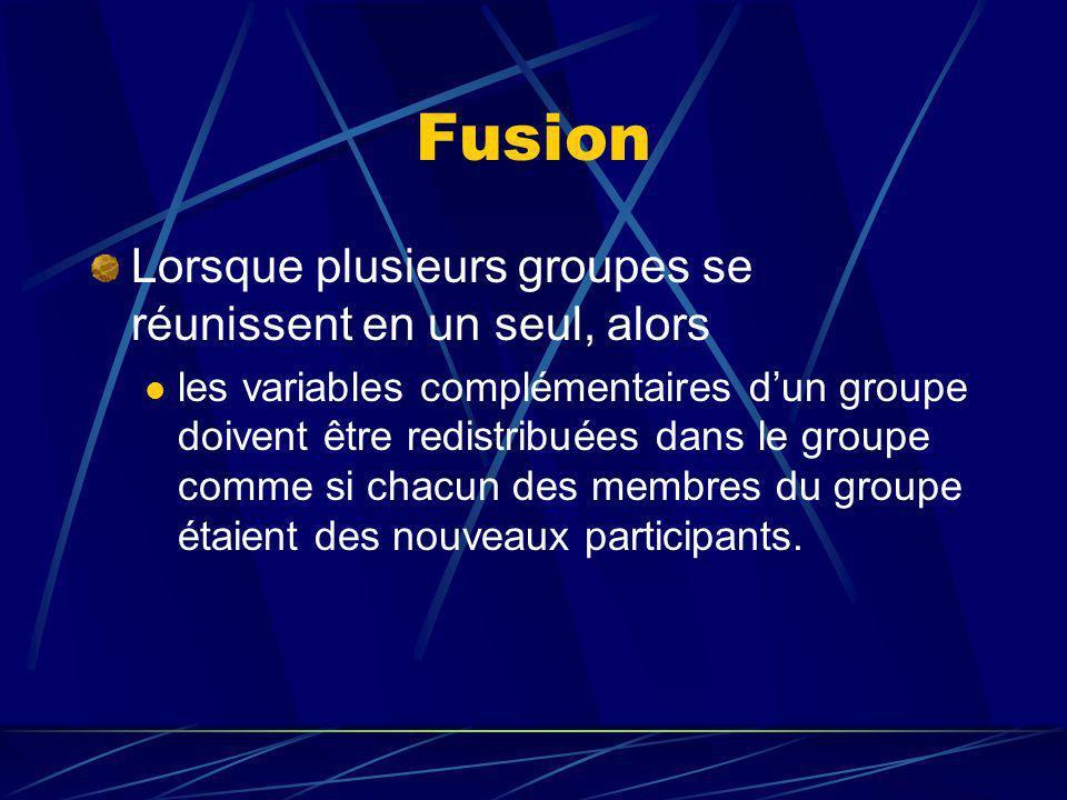 Fusion Lorsque plusieurs groupes se réunissent en un seul, alors les variables complémentaires dun groupe doivent être redistribuées dans le groupe comme si chacun des membres du groupe étaient des nouveaux participants.