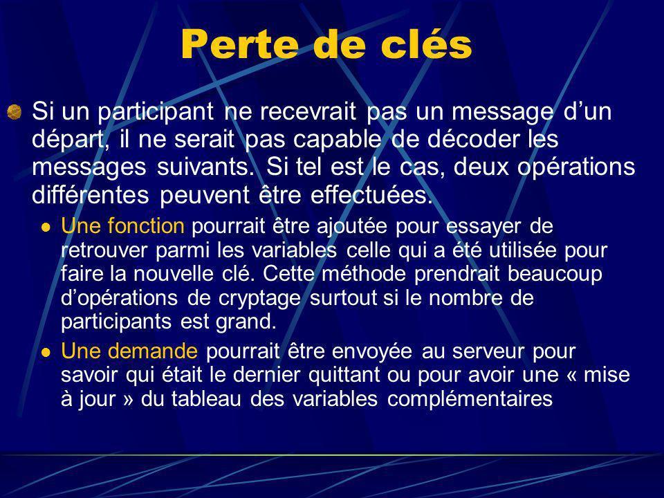 Perte de clés Si un participant ne recevrait pas un message dun départ, il ne serait pas capable de décoder les messages suivants.
