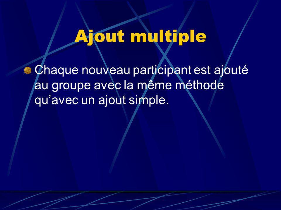 Ajout multiple Chaque nouveau participant est ajouté au groupe avec la même méthode quavec un ajout simple.