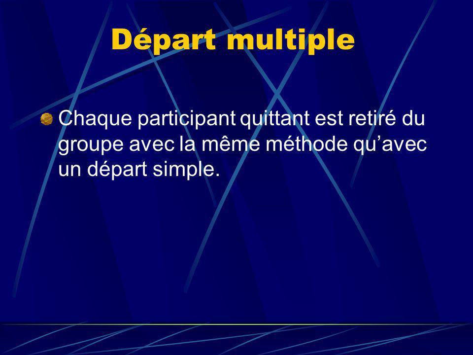 Départ multiple Chaque participant quittant est retiré du groupe avec la même méthode quavec un départ simple.