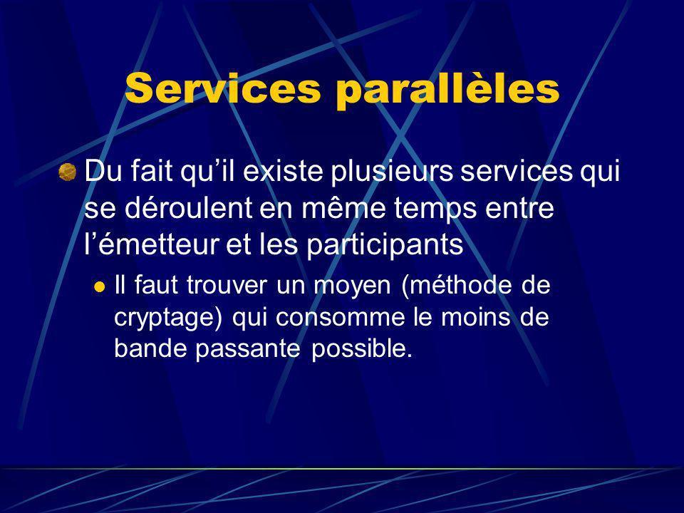 Services parallèles Du fait quil existe plusieurs services qui se déroulent en même temps entre lémetteur et les participants Il faut trouver un moyen (méthode de cryptage) qui consomme le moins de bande passante possible.