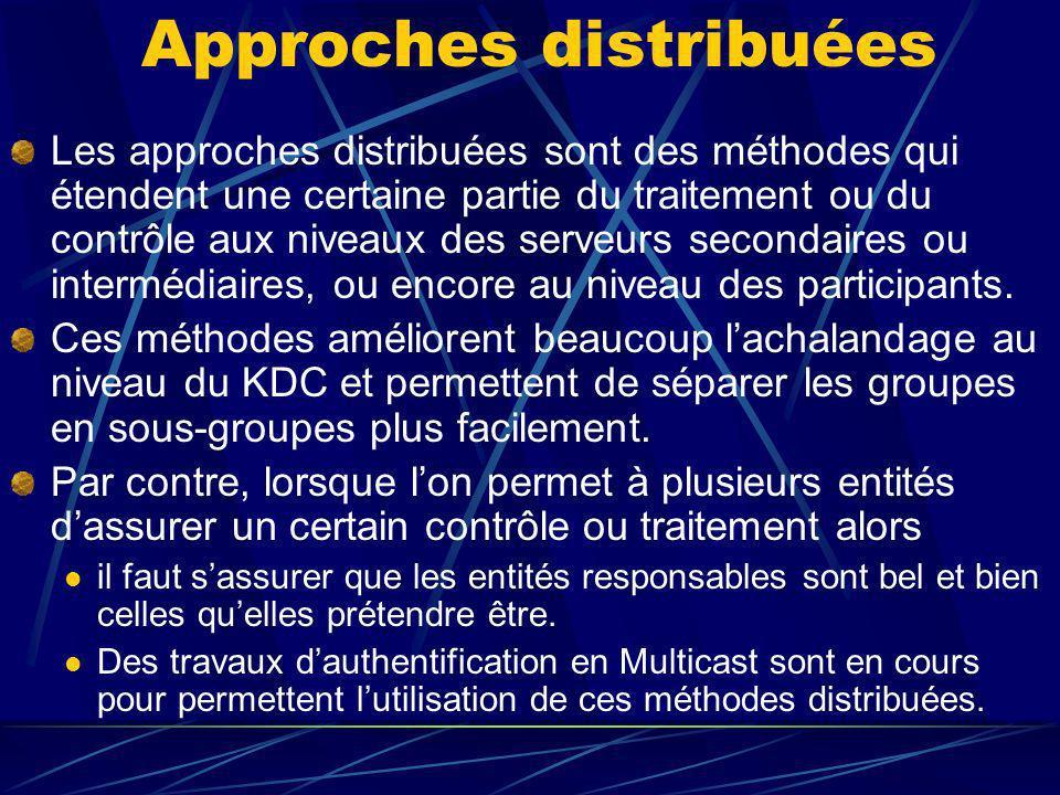 Approches distribuées Les approches distribuées sont des méthodes qui étendent une certaine partie du traitement ou du contrôle aux niveaux des serveurs secondaires ou intermédiaires, ou encore au niveau des participants.