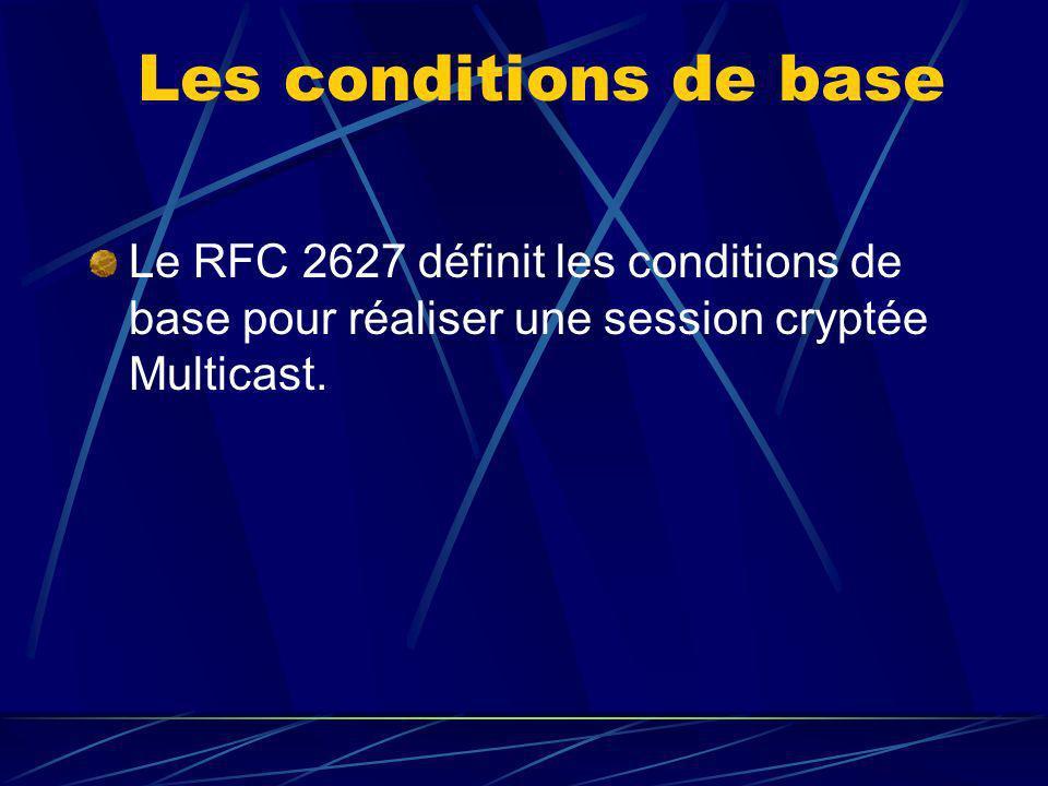 Les conditions de base Le RFC 2627 définit les conditions de base pour réaliser une session cryptée Multicast.