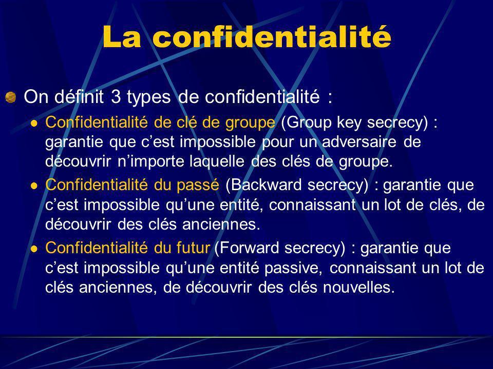 La confidentialité On définit 3 types de confidentialité : Confidentialité de clé de groupe (Group key secrecy) : garantie que cest impossible pour un adversaire de découvrir nimporte laquelle des clés de groupe.