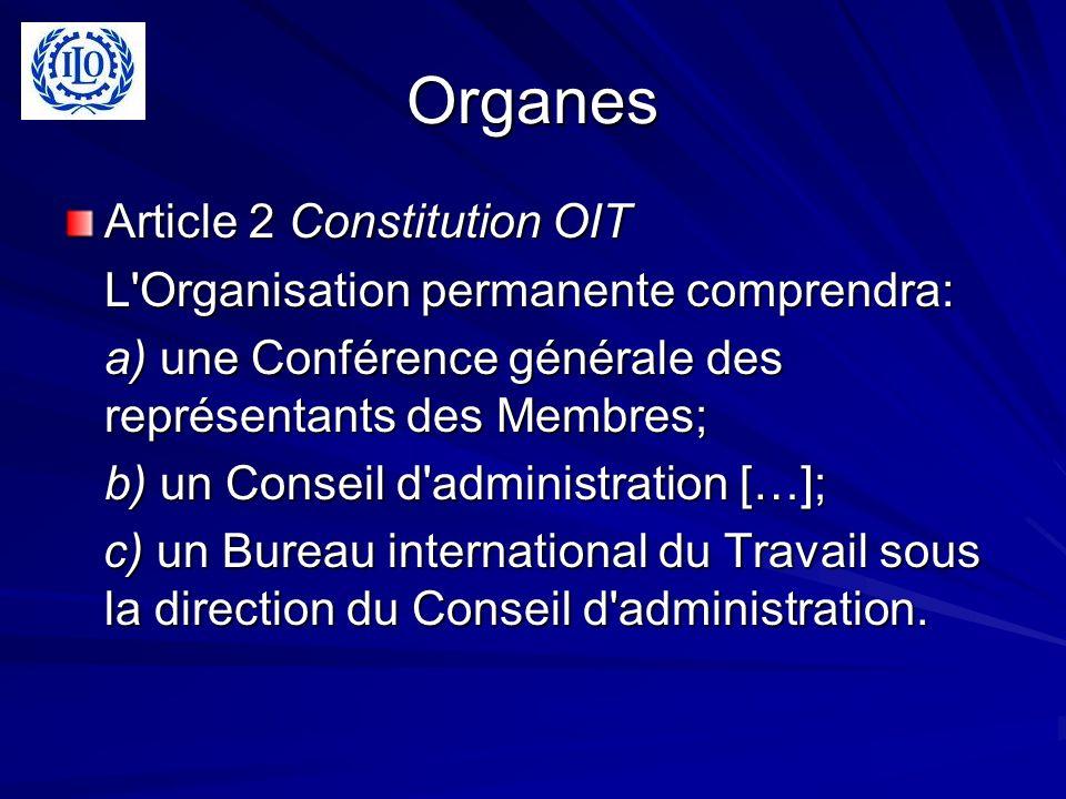 Organes Article 2 Constitution OIT L Organisation permanente comprendra: a) une Conférence générale des représentants des Membres; b) un Conseil d administration […]; c) un Bureau international du Travail sous la direction du Conseil d administration.