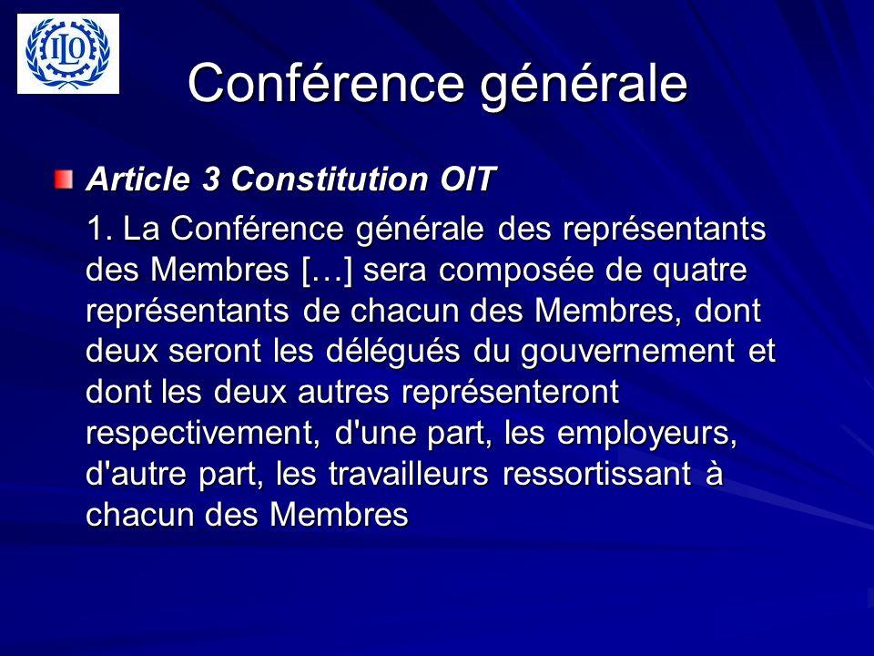 Conférence générale Article 3 Constitution OIT 1. La Conférence générale des représentants des Membres […] sera composée de quatre représentants de ch