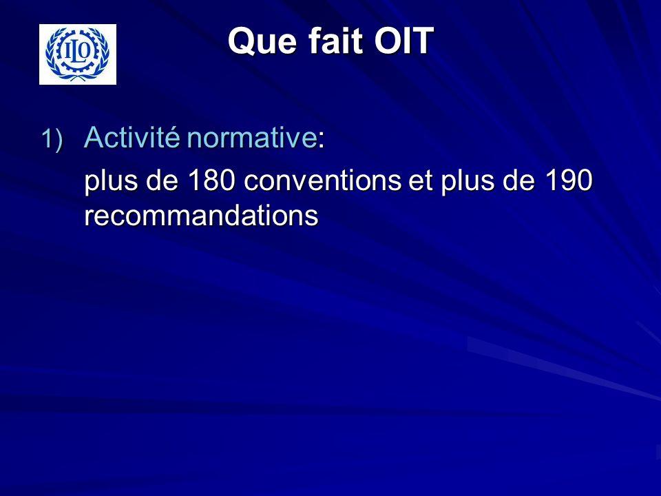 Que fait OIT 1) Activité normative: plus de 180 conventions et plus de 190 recommandations