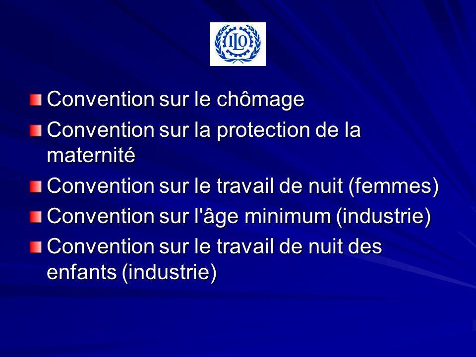 Convention sur le chômage Convention sur la protection de la maternité Convention sur le travail de nuit (femmes) Convention sur l âge minimum (industrie) Convention sur le travail de nuit des enfants (industrie)