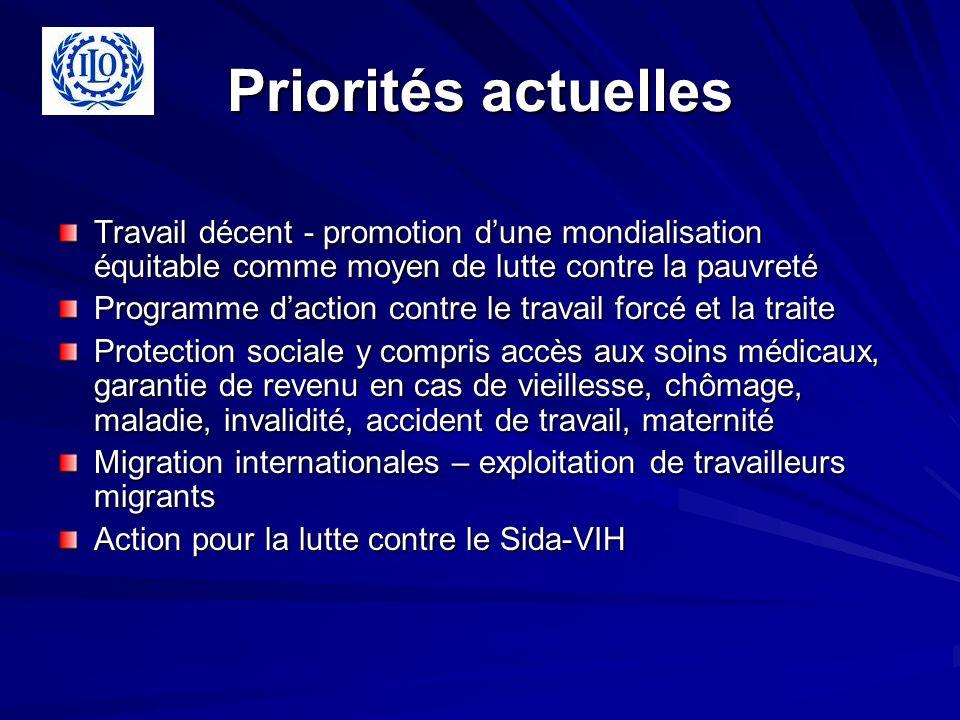 Priorités actuelles Travail décent - promotion dune mondialisation équitable comme moyen de lutte contre la pauvreté Programme daction contre le trava