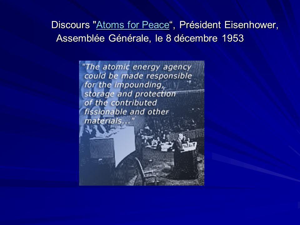 Discours Atoms for Peace, Président Eisenhower, Assemblée Générale, le 8 décembre 1953 Atoms for PeaceAtoms for Peace