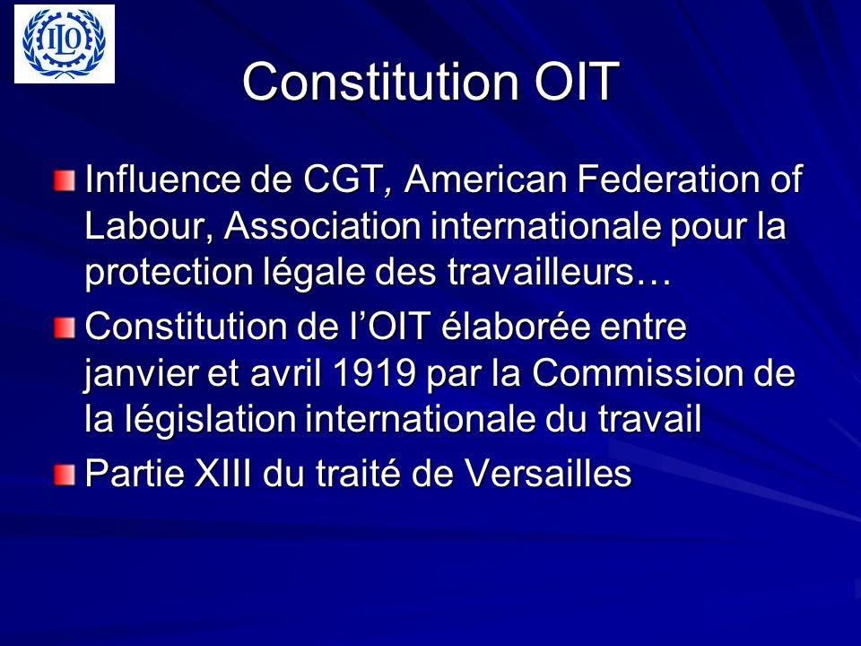 Constitution OIT Influence de CGT, American Federation of Labour, Association internationale pour la protection légale des travailleurs… Constitution de lOIT élaborée entre janvier et avril 1919 par la Commission de la législation internationale du travail Partie XIII du traité de Versailles