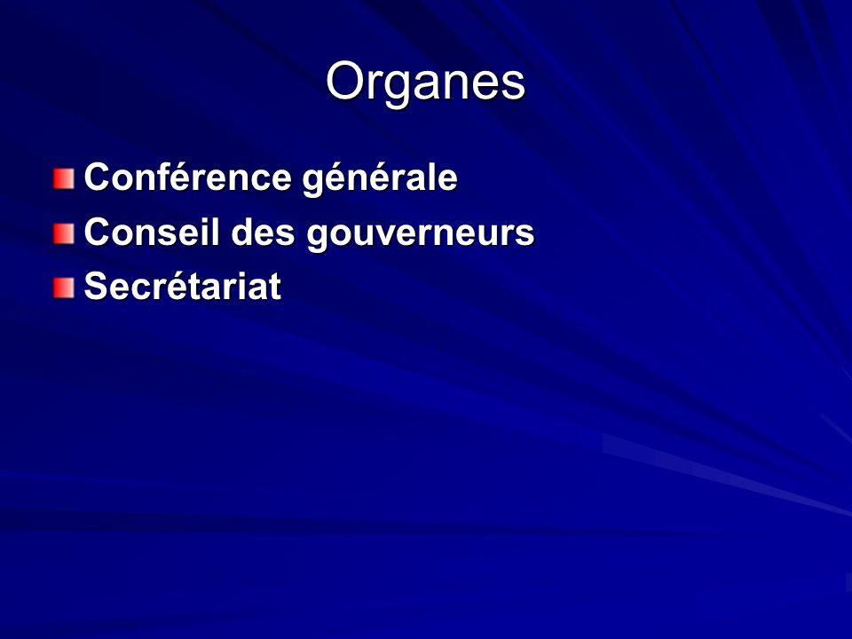 Organes Conférence générale Conseil des gouverneurs Conseil des gouverneurs Secrétariat
