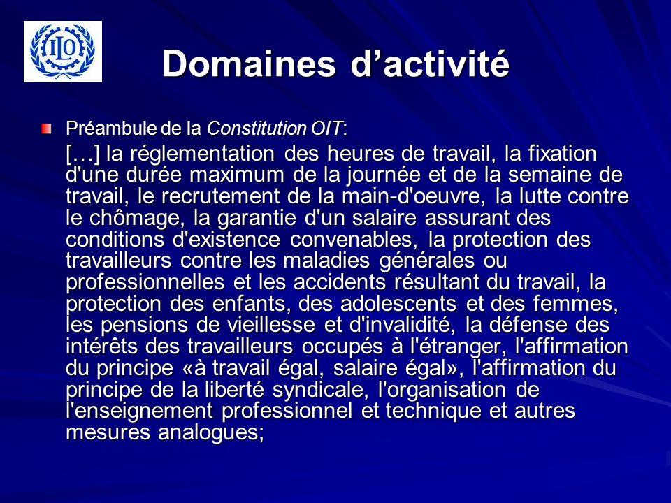 Domaines dactivité Préambule de la Constitution OIT: […] la réglementation des heures de travail, la fixation d'une durée maximum de la journée et de