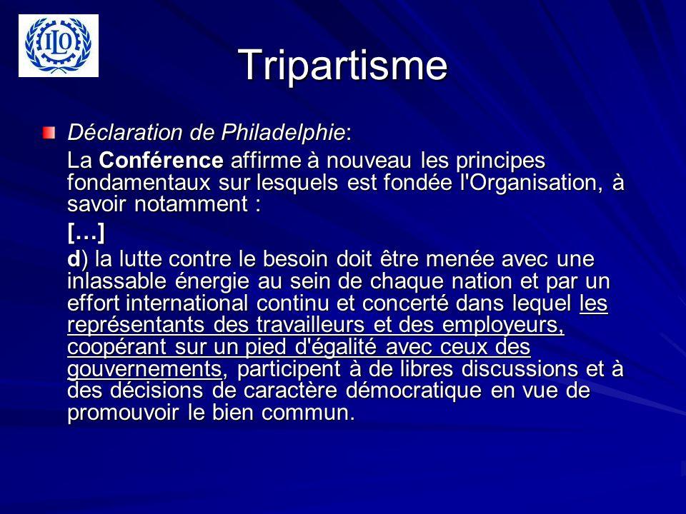 Tripartisme Déclaration de Philadelphie: La Conférence affirme à nouveau les principes fondamentaux sur lesquels est fondée l'Organisation, à savoir n