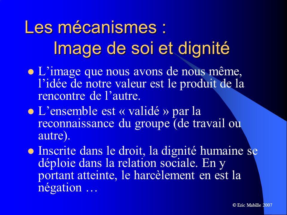 Les mécanismes : Image de soi et dignité Limage que nous avons de nous même, lidée de notre valeur est le produit de la rencontre de lautre.