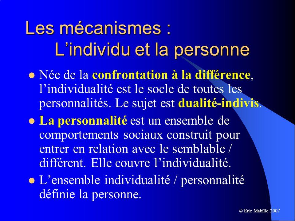 Les mécanismes : Lindividu et la personne Née de la confrontation à la différence, lindividualité est le socle de toutes les personnalités.