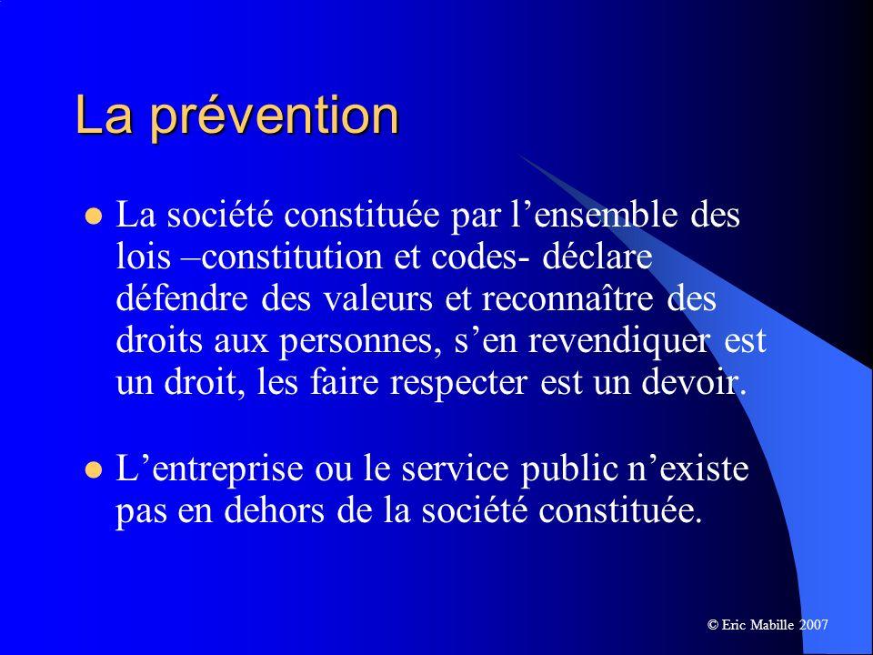 La prévention La société constituée par lensemble des lois –constitution et codes- déclare défendre des valeurs et reconnaître des droits aux personnes, sen revendiquer est un droit, les faire respecter est un devoir.